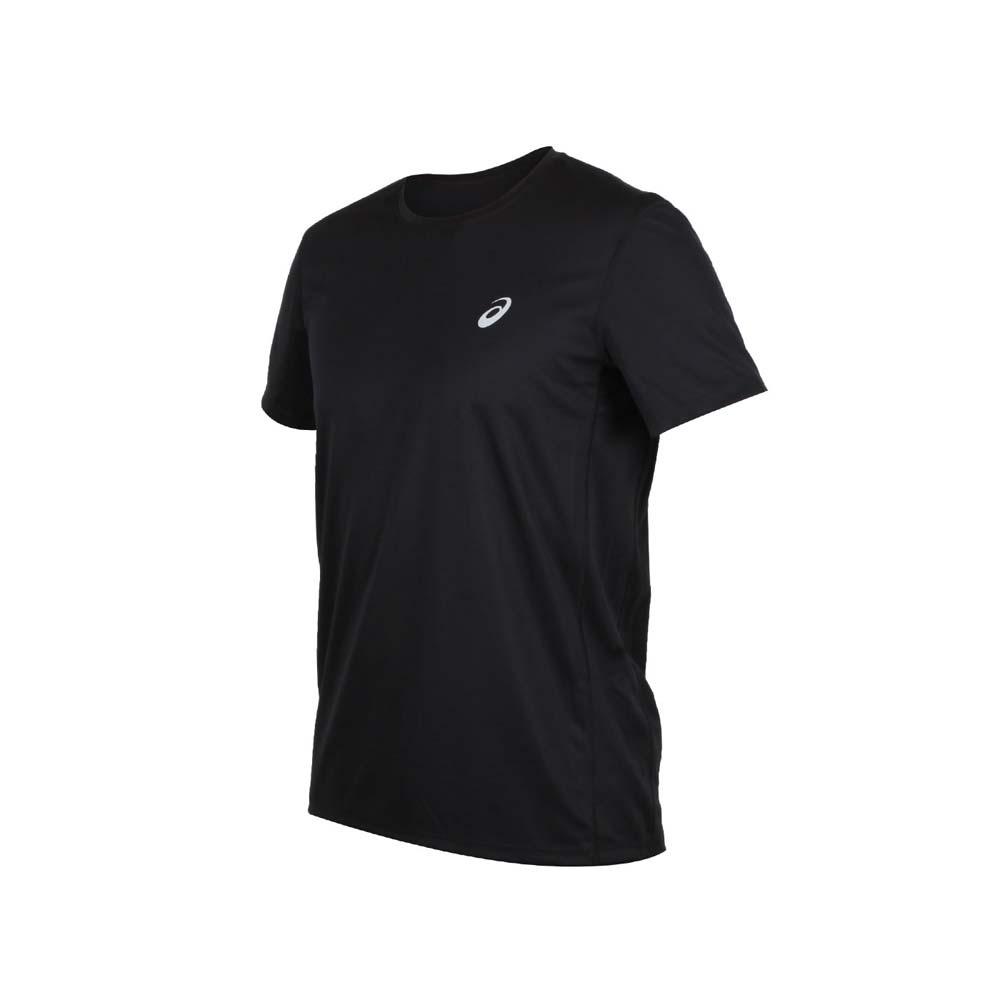 ASICS 男片假名短袖T恤-吸濕排汗 慢跑 路跑 短T 亞瑟士 黑銀@2011A866-001@