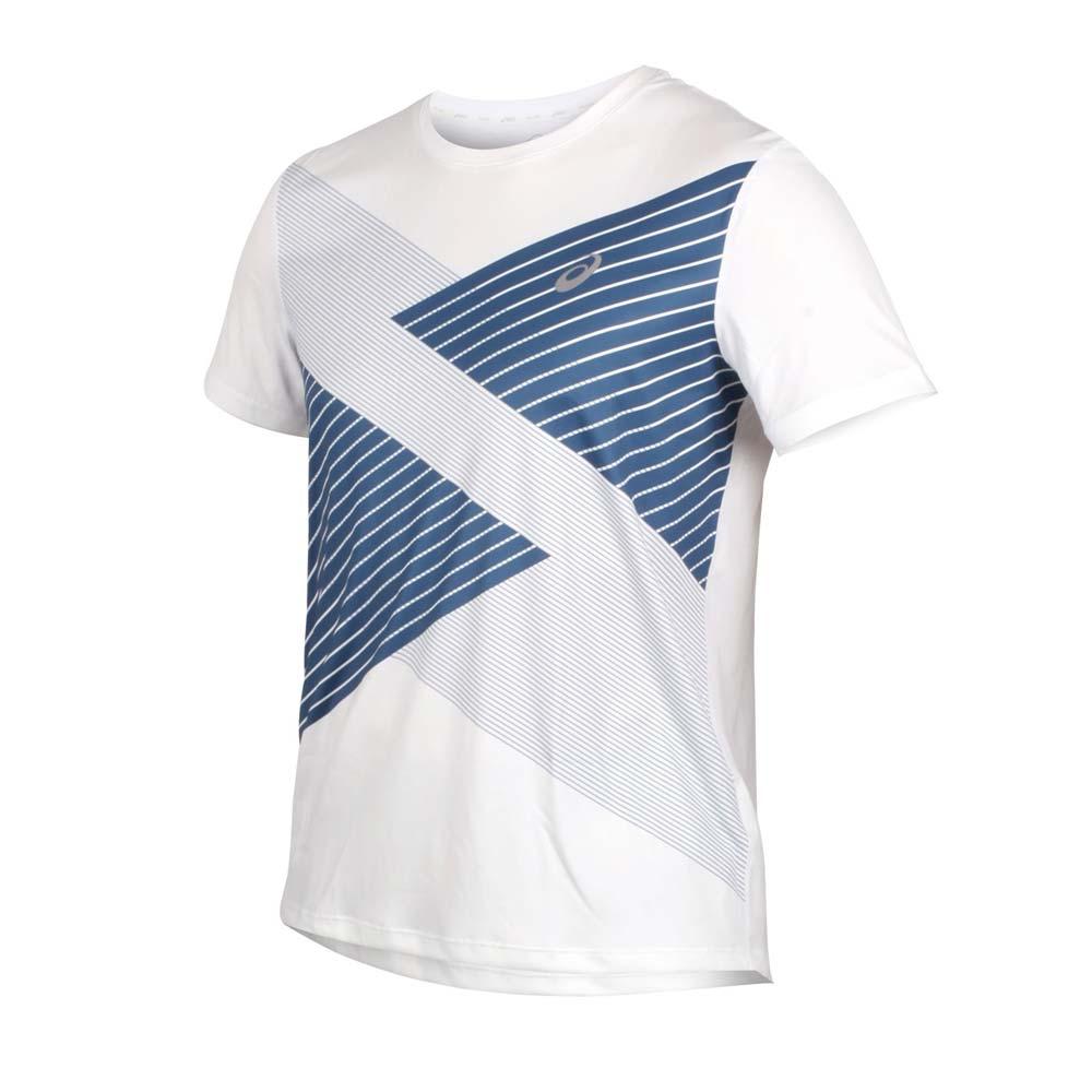 ASICS 男TOKYO短袖T恤-吸濕排汗 慢跑 路跑 短T 亞瑟士 白深藍@2011A857-100@