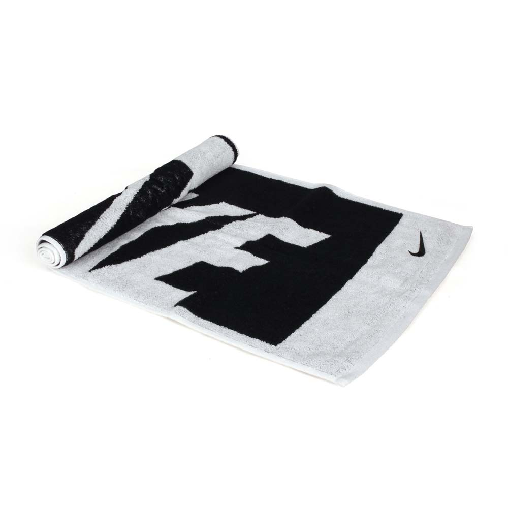 NIKE JACQUARD長型毛巾-中-運動毛巾 慢跑 路跑 海邊 戲水 浴巾 黑白@N1001539036MD@