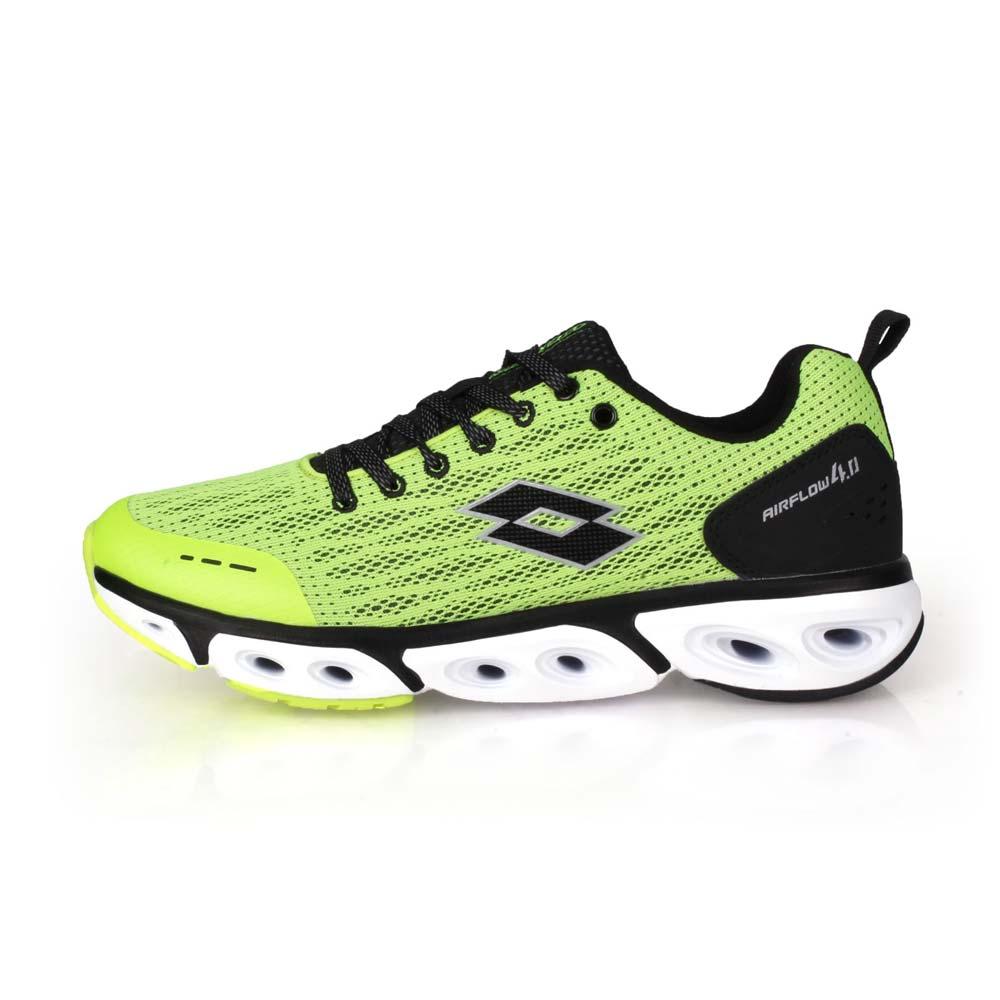 LOTTO 男編織風動跑鞋-慢跑 路跑 運動 螢光綠黑@LT0AMR1904@