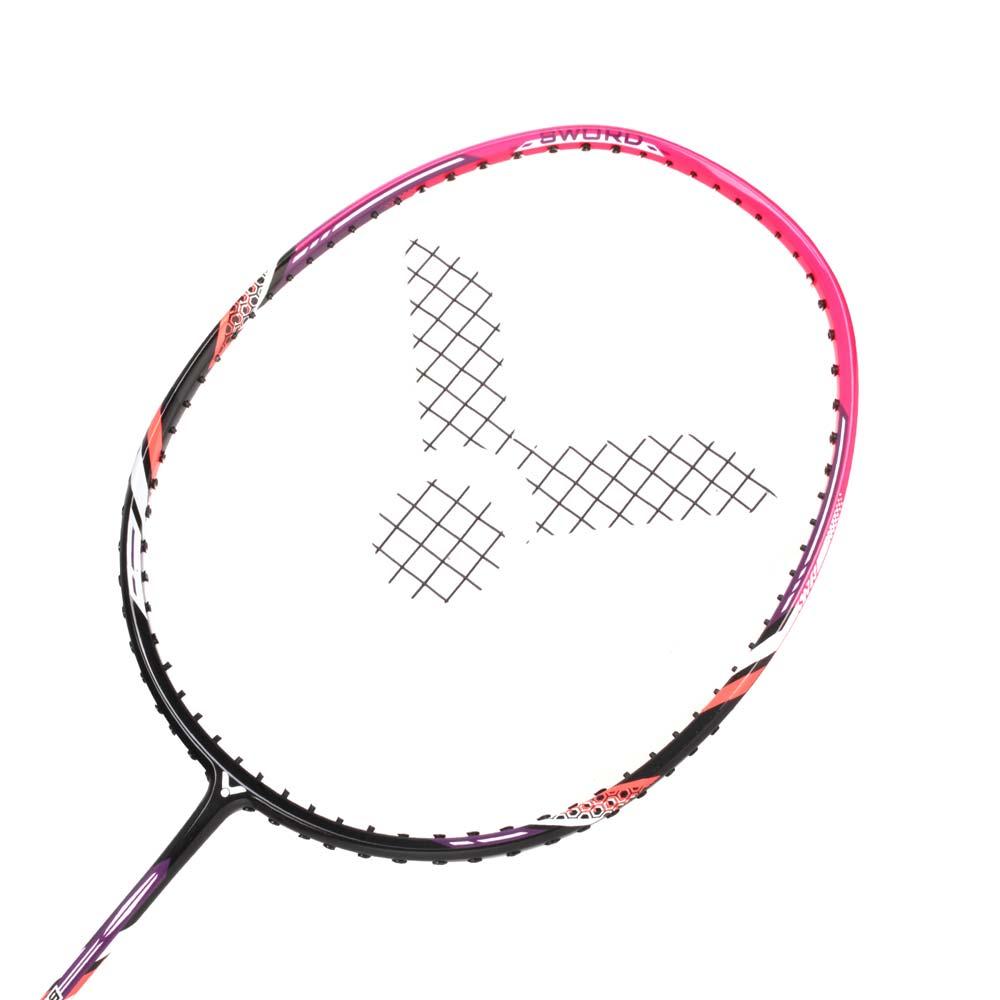 VICTOR 亮劍穿線拍-羽毛球拍 練習 訓練 勝利 黑螢光粉@BRS-1800C-4U@