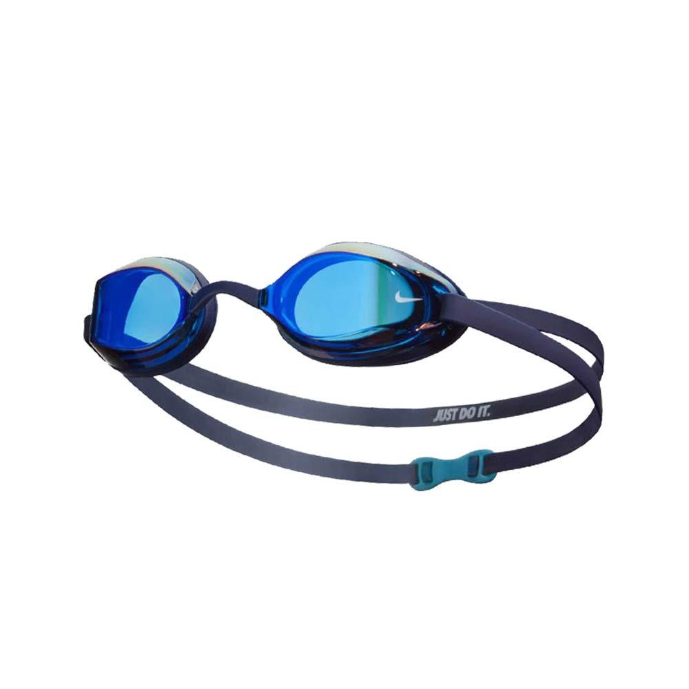 NIKE SWIM 成人專業型面鏡泳鏡-游泳 蛙鏡 抗UV 防霧 訓練 丈青白@NESSA178-440@