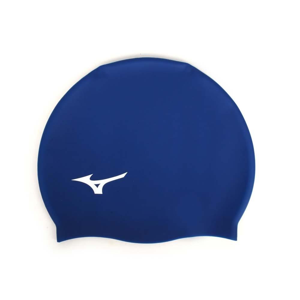 MIZUNO SWIM 矽膠泳帽-游泳 戲水 海邊 沙灘 美津濃 丈青白@N2JW914000-25@