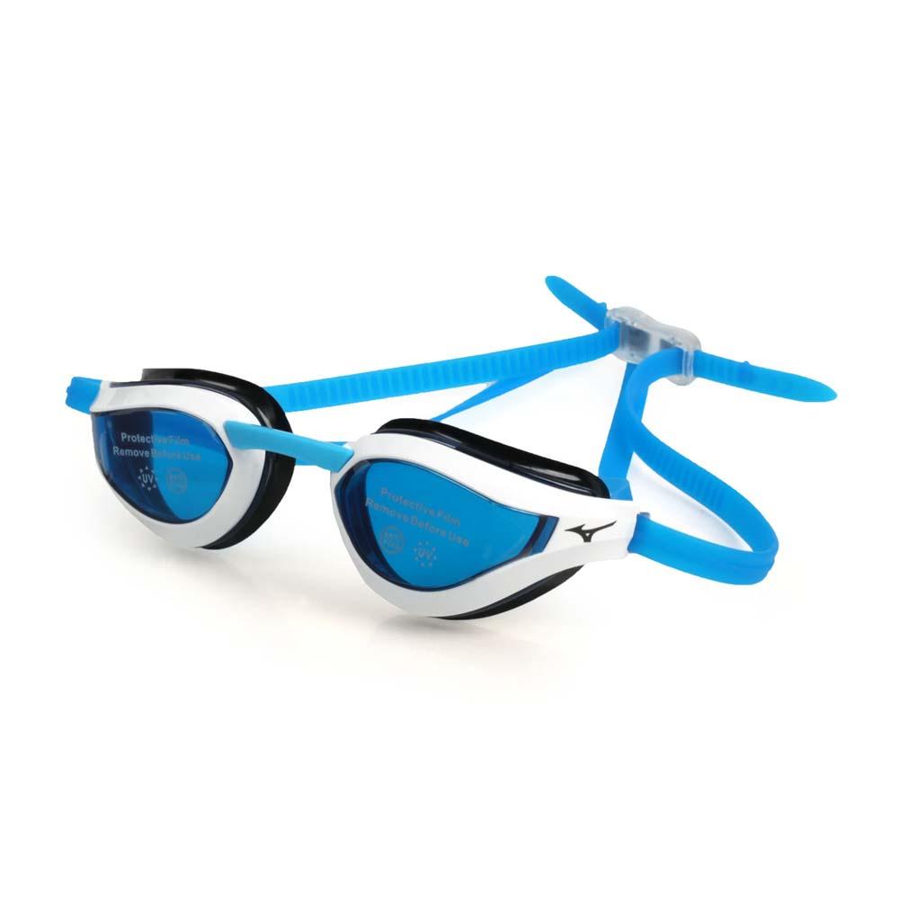 MIZUNO SWIM 健康型墊片泳鏡-抗UV 防霧 蛙鏡 游泳 訓練 美津濃 白藍@N3TE951000-01@