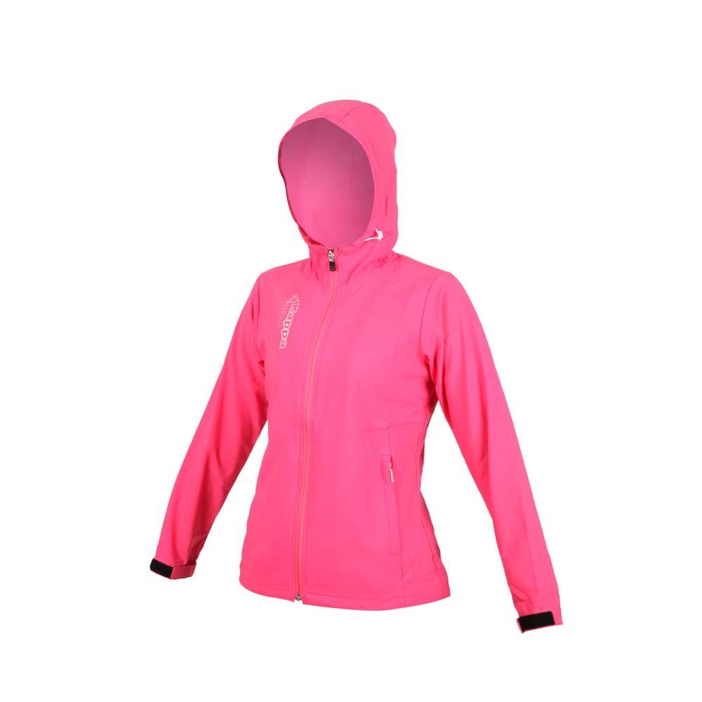 KAPPA 女單層外套-連帽外套 防潑水 抗UV 慢跑 路跑 運動 防風 風衣 桃紅銀@3117ZXW-705@