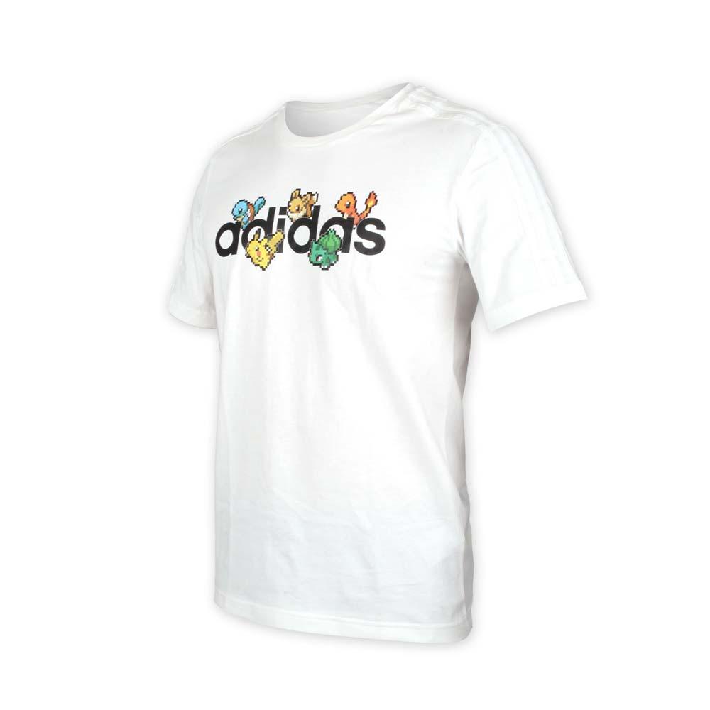 ADIDAS 男寶可夢聯名短袖T恤-POKEMON 純棉 上衣 神奇寶貝 愛迪達 白黑@FM6030@