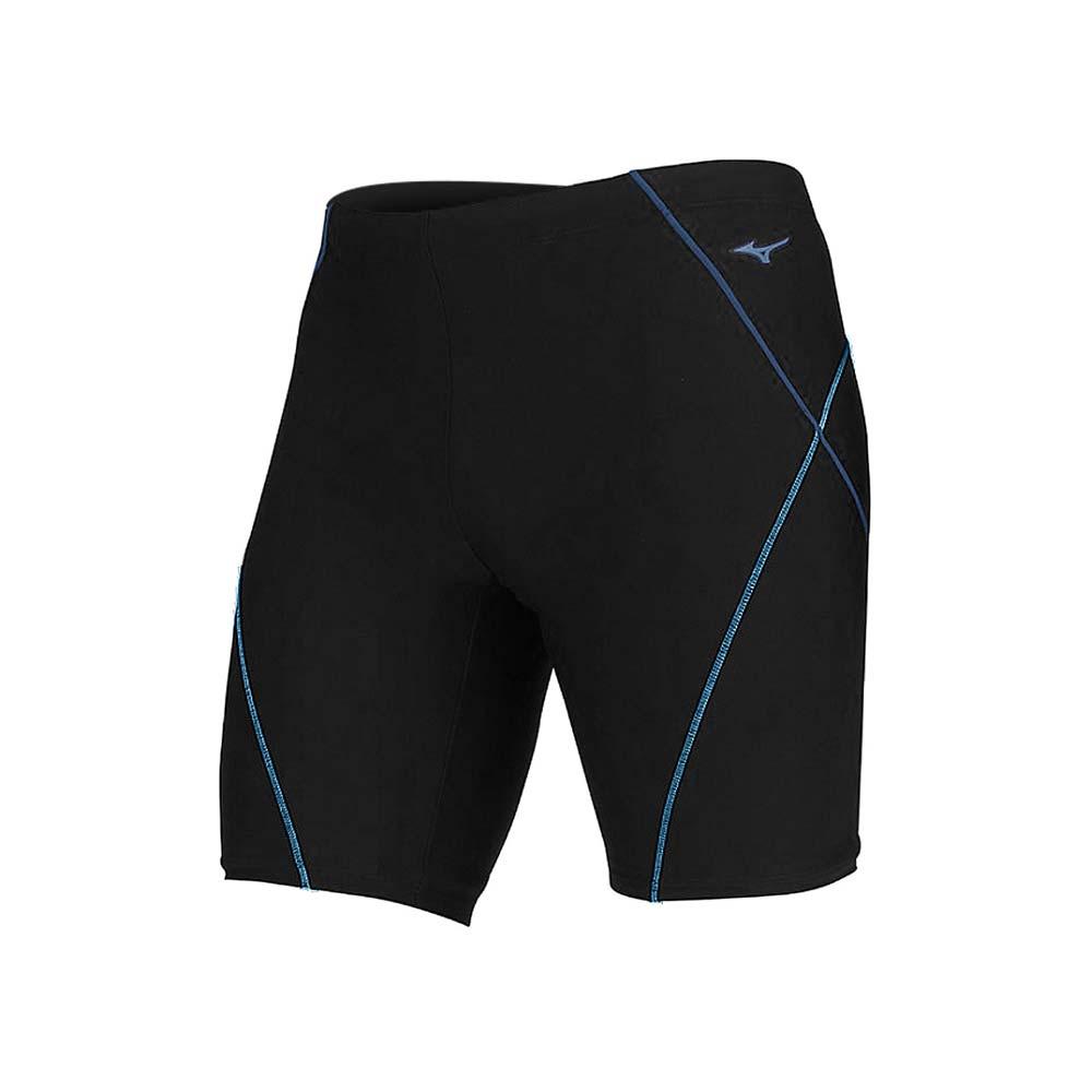 MIZUNO SWIM FITNESS 男五分泳褲-泳裝 四角 平口 游泳 美津濃 黑藍水藍@N2JB011592@