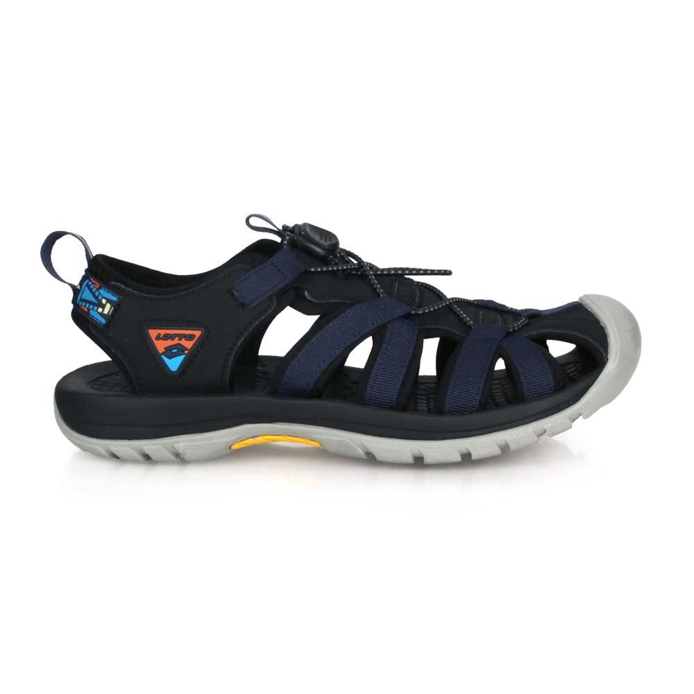 LOTTO 男冒險者護趾運動涼鞋-反光 休閒 海邊 戲水 健走鞋 丈青黑@LT0AMS1926@