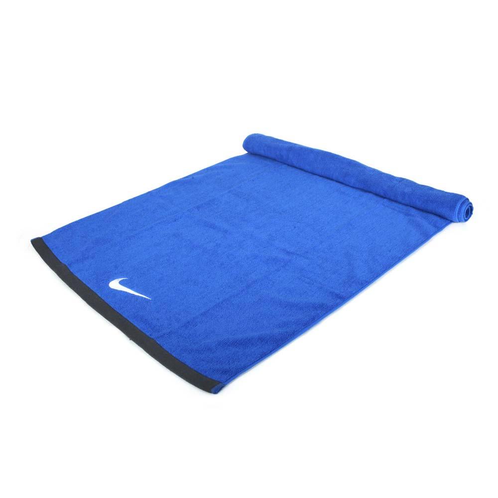 NIKE 運動大浴巾-60*120CM 純棉 慢跑 路跑 海邊 游泳 戲水 毛巾 藍灰白@N1001522452LG@