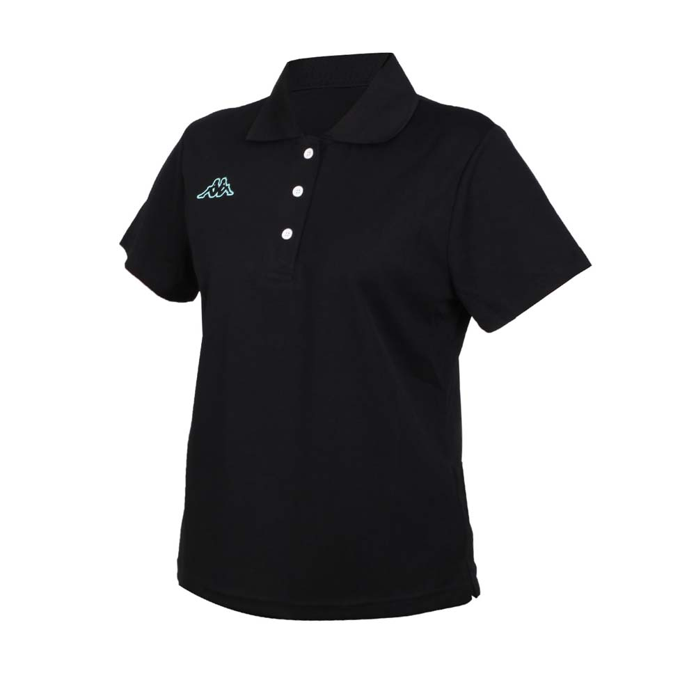 KAPPA 女短袖POLO衫-台灣製 高爾夫 吸濕排汗 上衣 網球 羽球 黑粉綠@311822W-005@