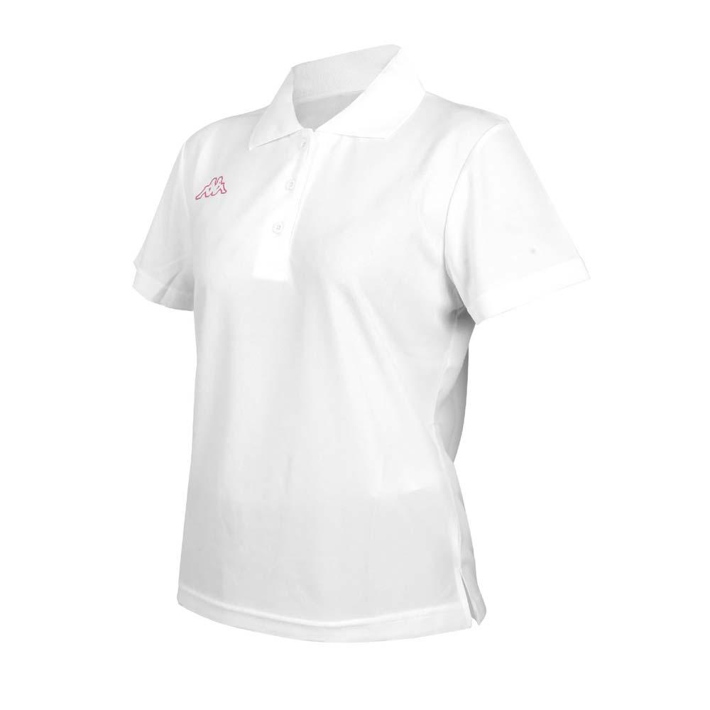 KAPPA 女短袖POLO衫-台灣製 高爾夫 吸濕排汗 上衣 網球 羽球 白桃紅@311822W-AWT@