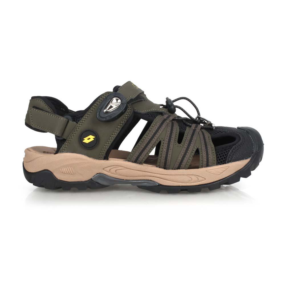LOTTO 男排水護趾涼鞋-反光 休閒 海邊 戲水 水陸鞋 拖鞋 軍綠黑@LT0AMS1630@