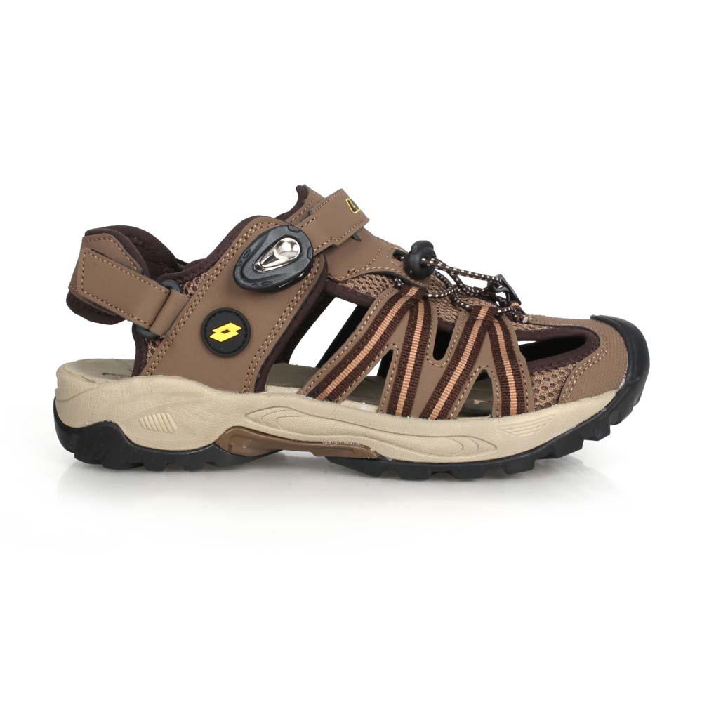 LOTTO 男排水護趾涼鞋-反光 休閒 海邊 戲水 水陸鞋 拖鞋 深棕咖啡@LT0AMS1631@