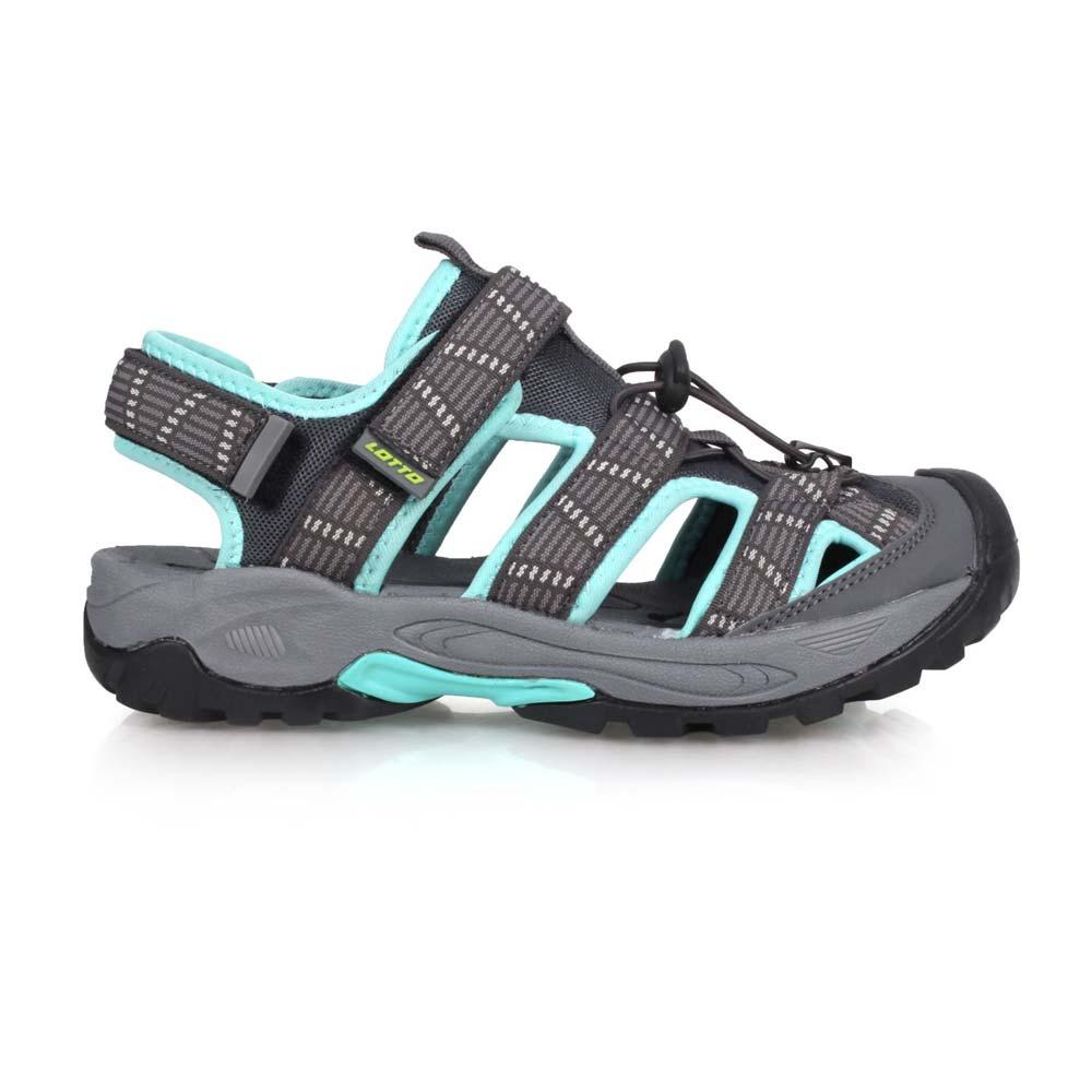 LOTTO 女排水護趾涼鞋-休閒 海邊 戲水 水陸鞋 灰湖水綠@LT0AWS1695@