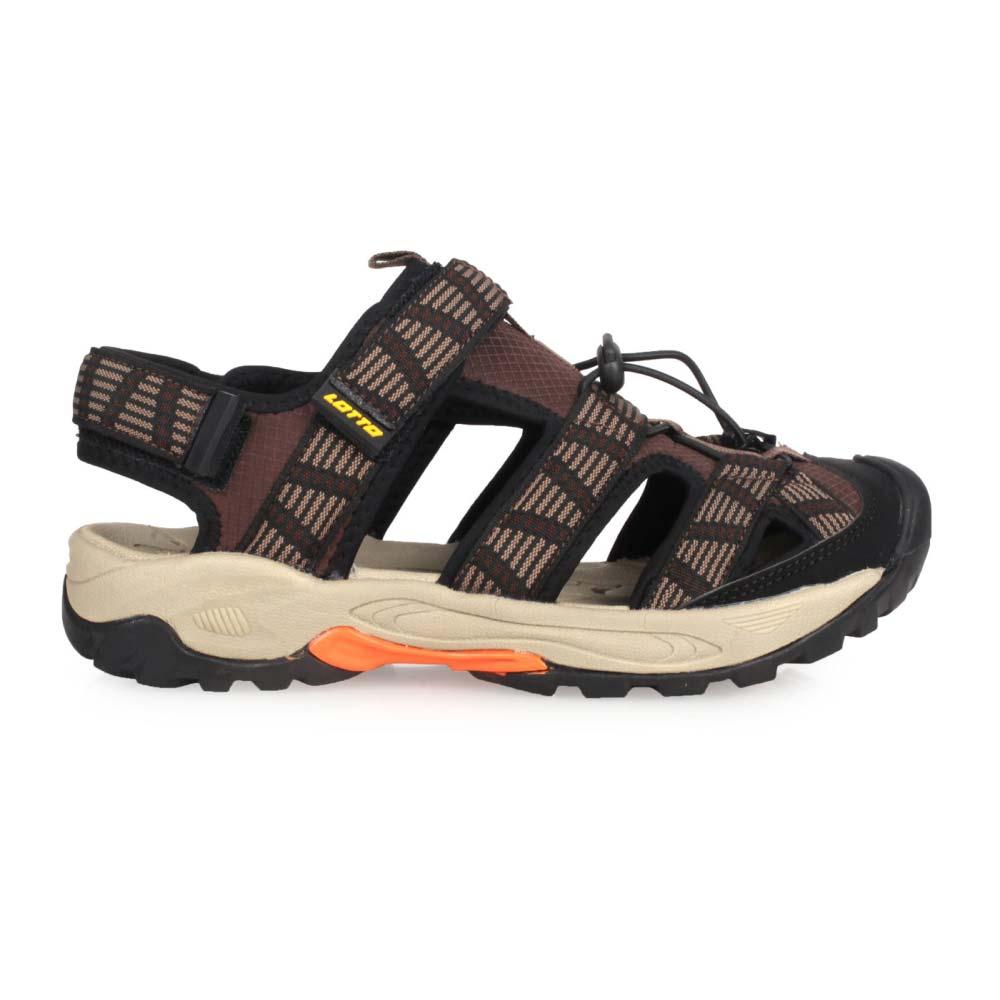 LOTTO 男排水護趾涼鞋-休閒 海邊 戲水 水陸鞋 咖啡黑@LT0AMS1653@