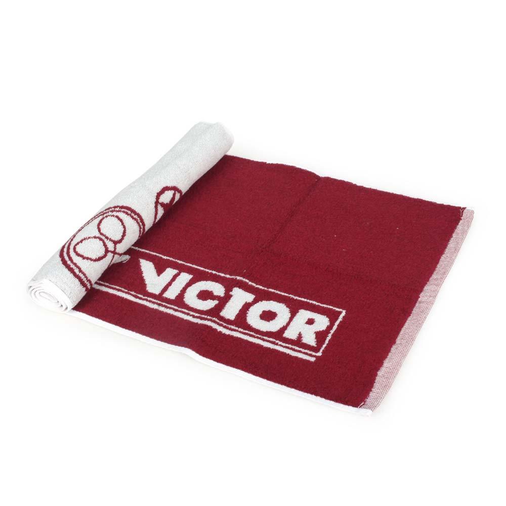 VICTOR 運動毛巾-一只入 海邊 浴巾 游泳 戲水 慢跑 路跑 勝利 酒紅白@C-4159D@