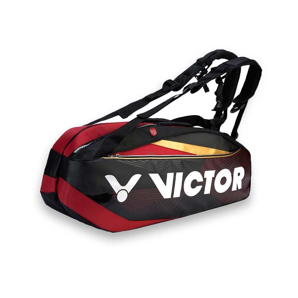 VICTOR 12支裝羽拍包-裝備袋 雙肩包 後背包 手提袋 羽球 勝利 黑紅金白@BR9209CD@