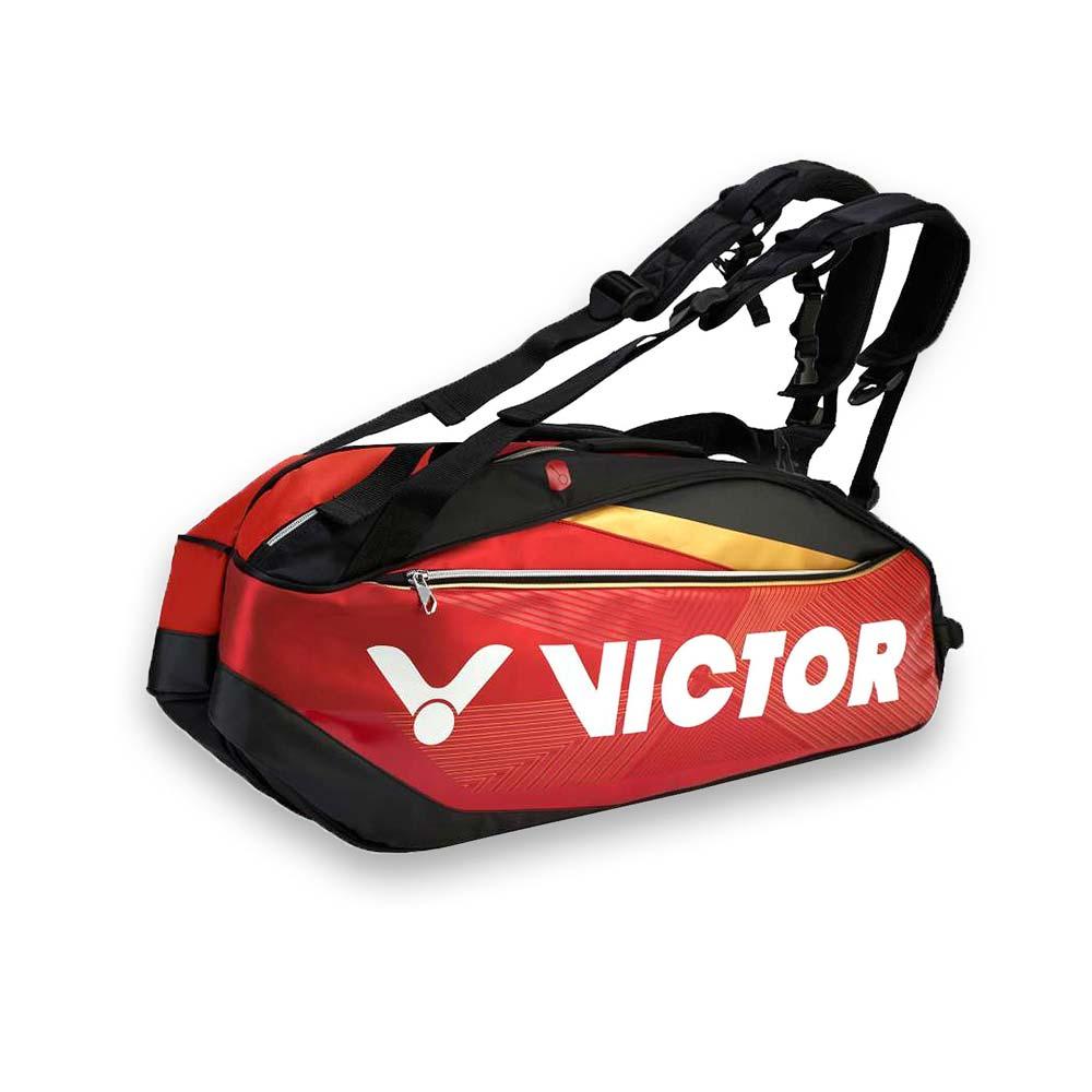 VICTOR 12支裝羽拍包-裝備袋 雙肩包 後背包 手提袋 羽球 勝利 紅黑金白@BR9209DC@