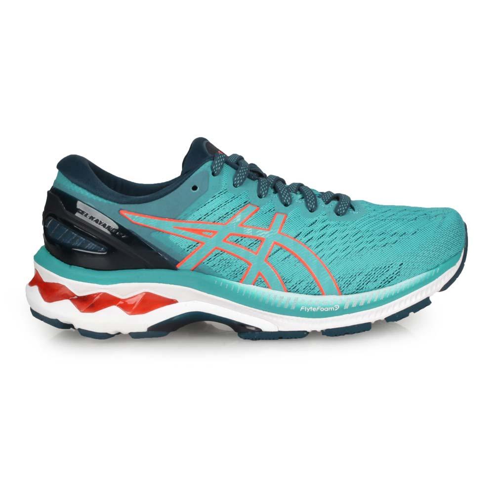ASICS GEL-KAYANO 27女慢跑鞋-WIDE-寬楦 亞瑟膠 亞瑟士 湖水綠橘@1012A713-300@