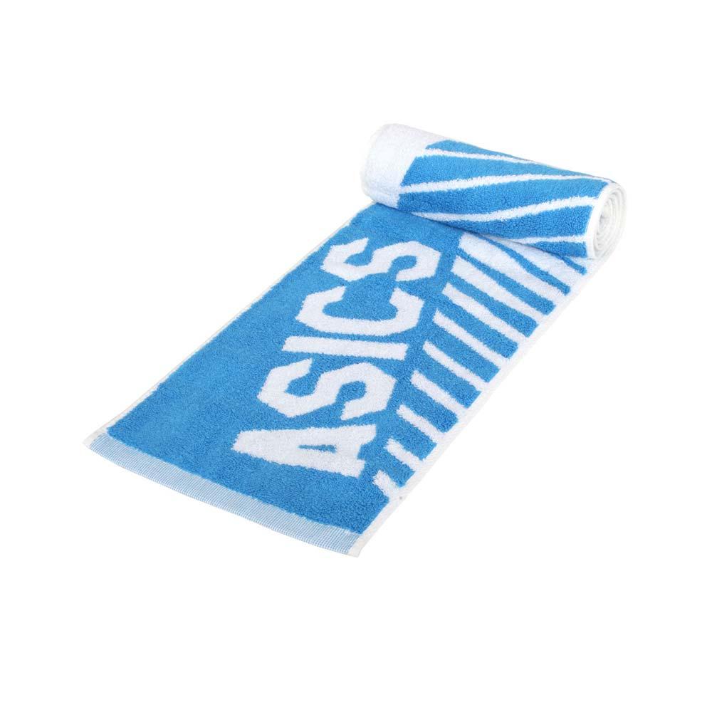 ASICS 運動毛巾-純棉 台灣製 海邊 浴巾 游泳 戲水 慢跑 路跑 亞瑟士 白寶藍@Z32002-43@