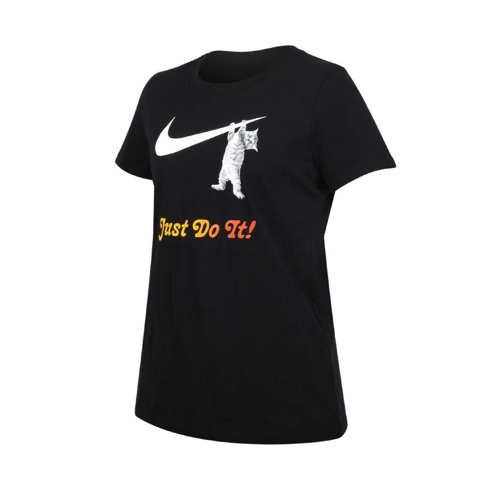 NIKE 女短袖T恤-慢跑 休閒 短袖上衣 純棉 貓 黑白橘@DA2481-010@