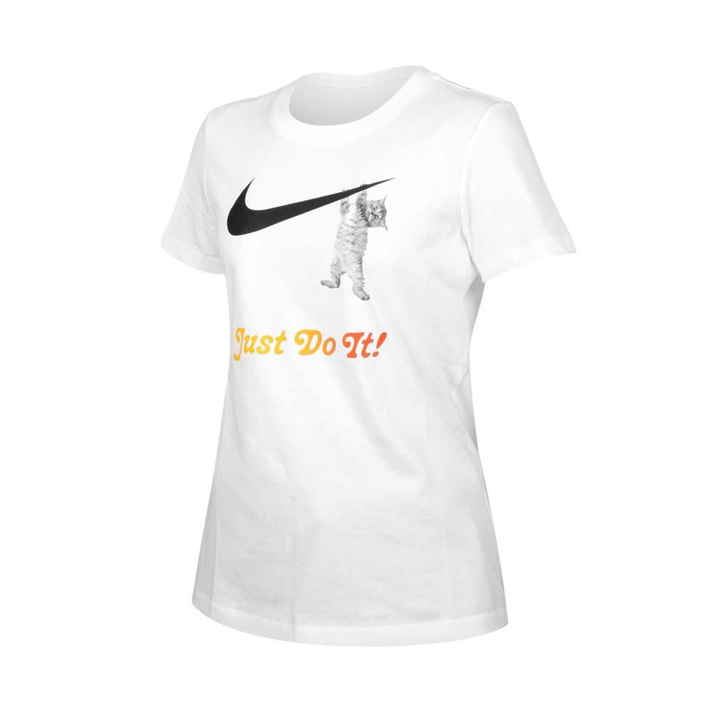 NIKE 女短袖T恤-慢跑 休閒 短袖上衣 純棉 貓 白黑橘@DA2481-100@