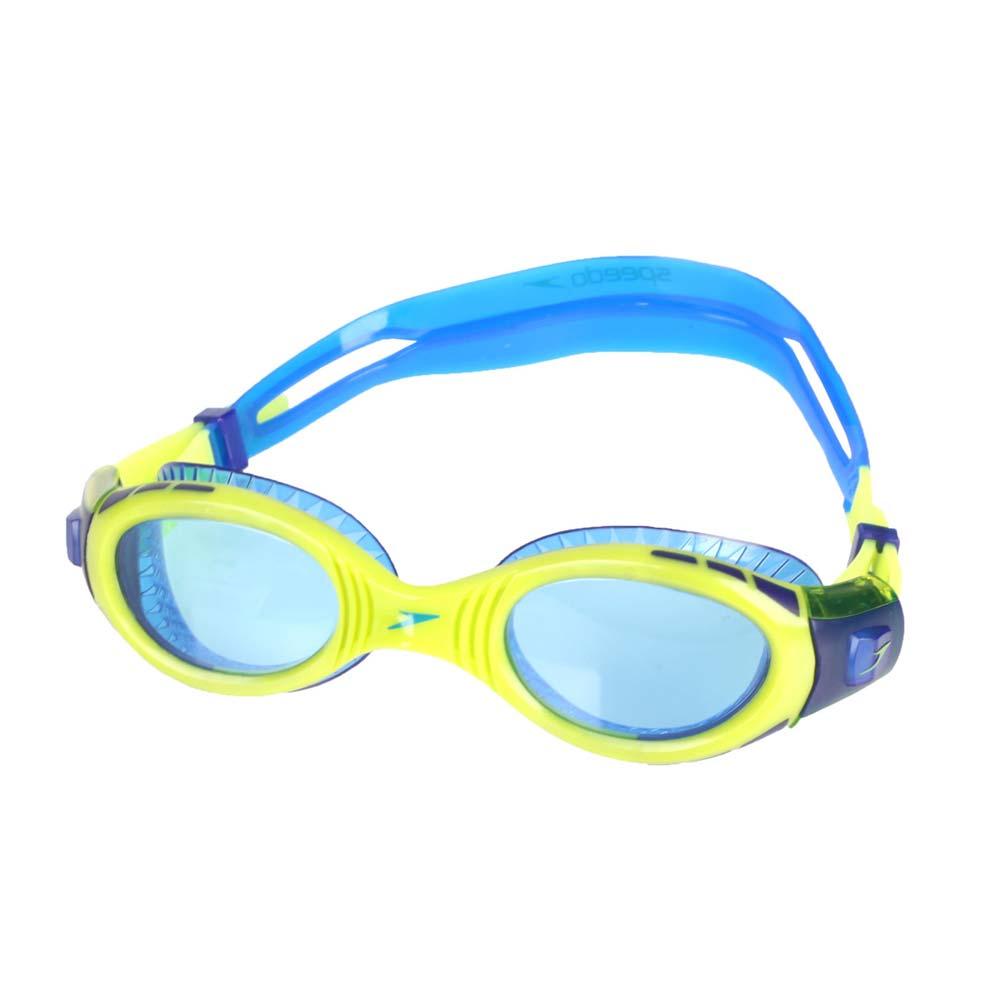SPEEDO 兒童運動泳鏡-抗UV 防霧 蛙鏡 游泳 訓練 萊姆綠藍@SD811595C585N@