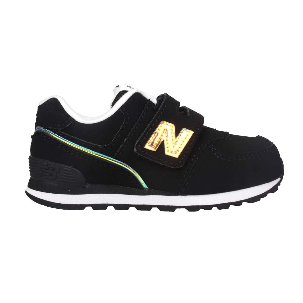 NEWBALANCE 男女小童復古慢跑鞋-WIDE-N字鞋 魔鬼氈 寬楦 NB 黑香檳金@IV574MTK@