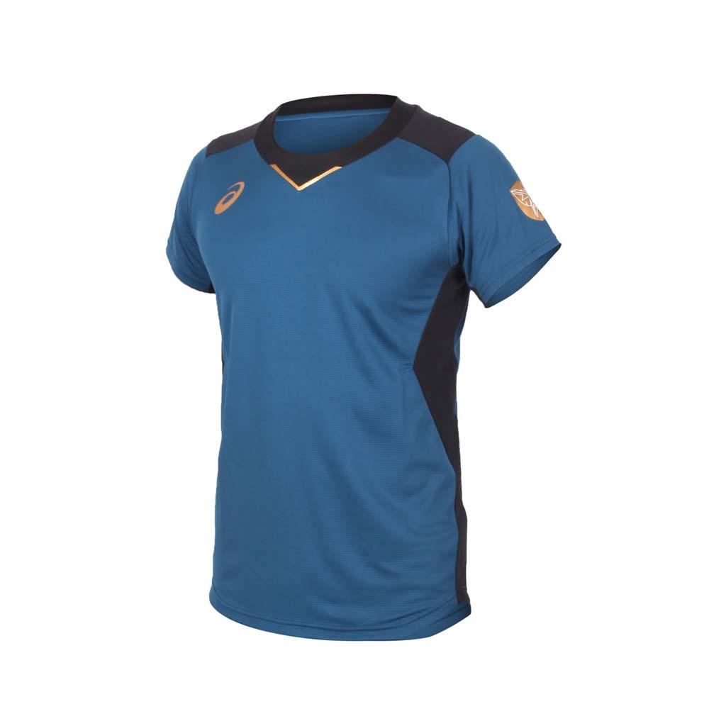 ASICS 男排球短袖T恤-吸濕排汗 亞瑟士 運動 訓練 上衣 墨藍金@2051A245-400@