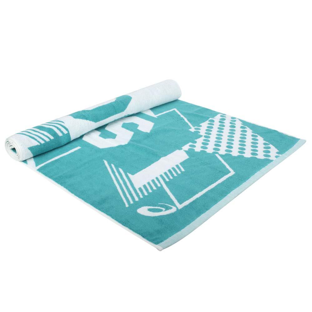 ASICS 大浴巾-海邊 毛巾 游泳 戲水 純棉 台灣製 亞瑟士 粉綠白@Z32001-52@