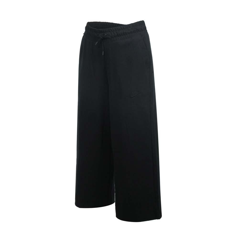 NIKE 女寬版七分長褲-NSW 純棉 寬褲 休閒 針織 黑@CJ3749-010@