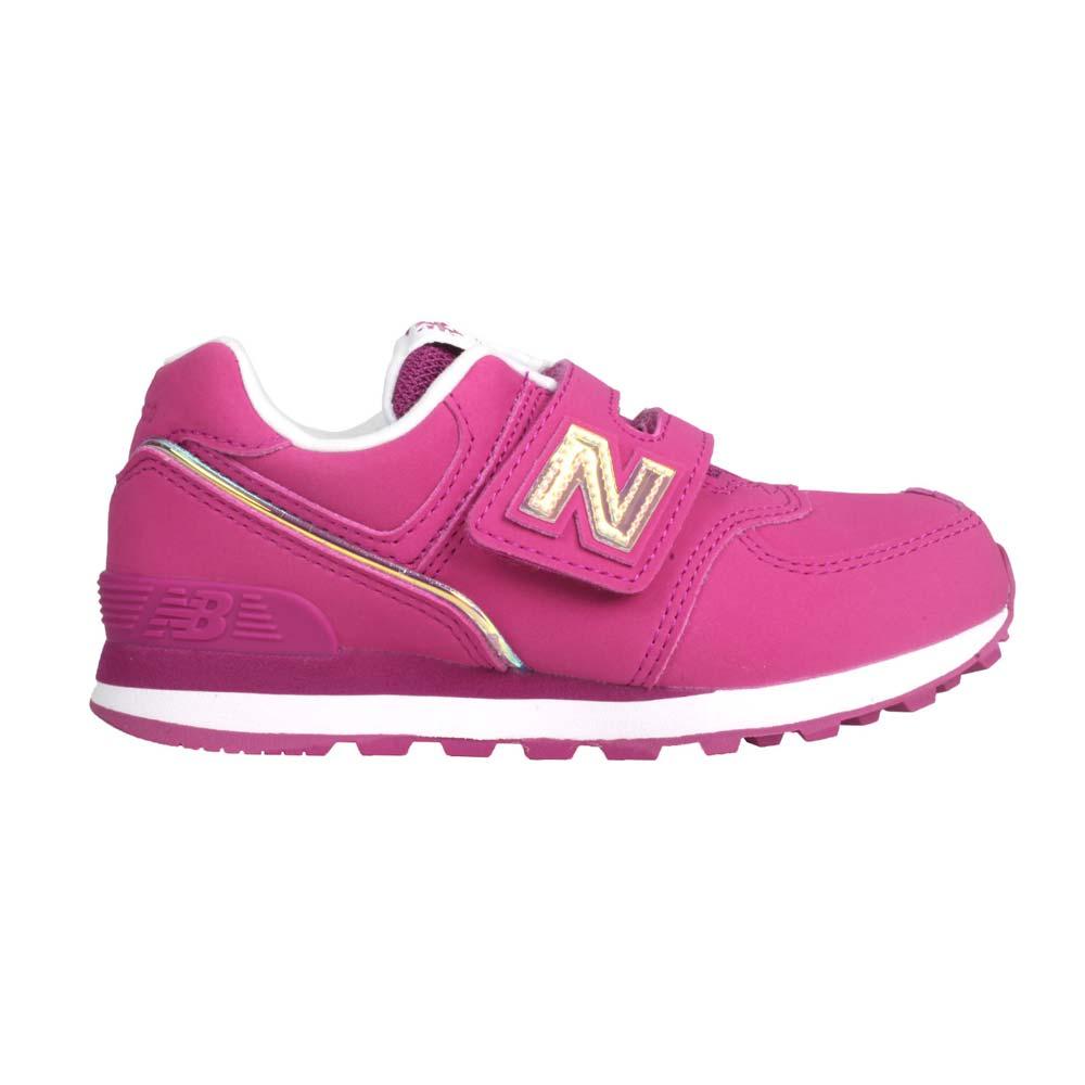 NEWBALANCE 女中童休閒運動鞋-574系列 N字鞋 NB 寬楦 桃紅香檳金@YV574MTP@