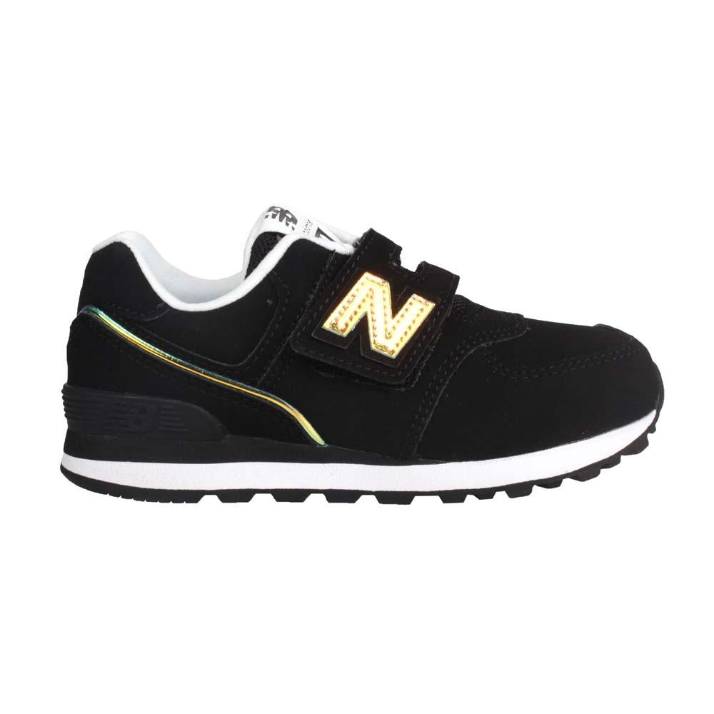 NEWBALANCE 男中童休閒運動鞋-574系列 N字鞋 NB 寬楦 黑香檳金@YV574MTK@