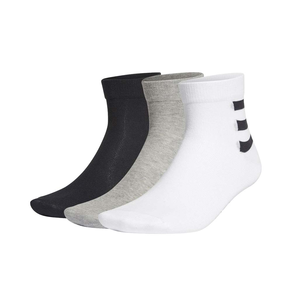 ADIDAS ADIDAS 男女運動短襪(三雙入 3-STRIPES 腳踝襪 三入 三色 襪子 愛迪達 黑白灰@GE6165@