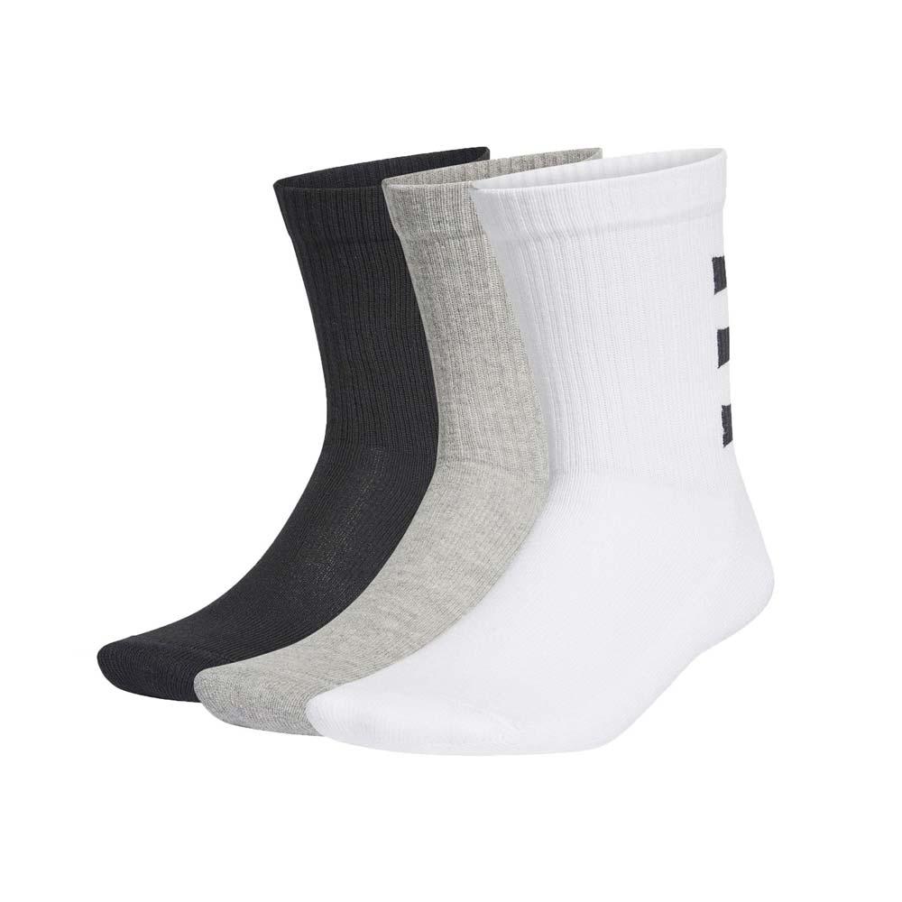 ADIDAS ADIDAS 男運動中筒襪(三雙入 3-STRIPES 三入 三色 襪子 長襪 愛迪達 白黑灰@GE6167@