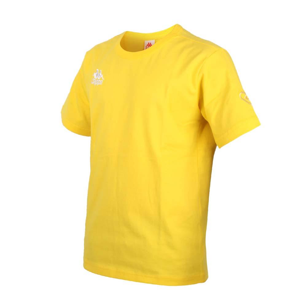 KAPPA DD52聯名男女短袖T恤-限量-菱格世代 純棉 台灣製 休閒上衣 黃白@33145BW-D17@