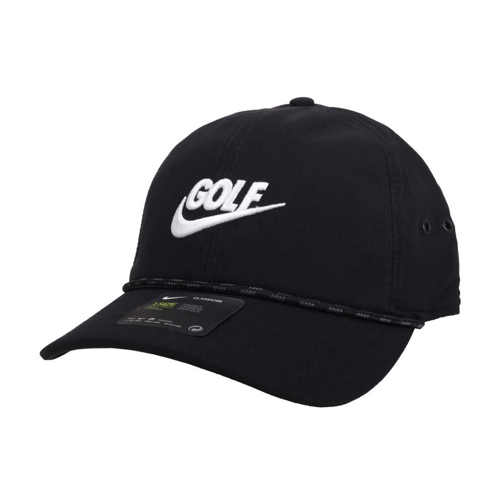 NIKE GOLF 高爾夫運動帽-復古 帽子 防曬 遮陽 鴨舌帽 黑白@BV8229-010@