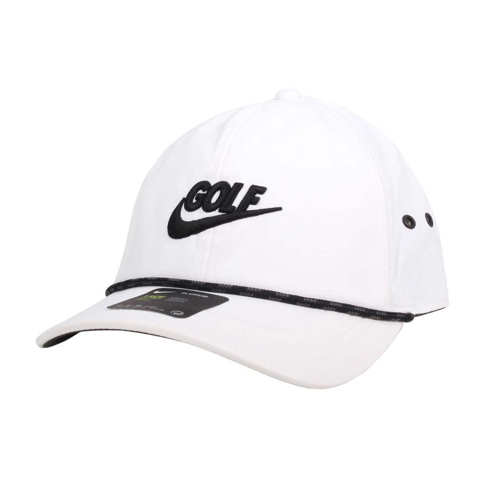 NIKE GOLF 高爾夫運動帽-復古 帽子 防曬 遮陽 鴨舌帽 白黑@BV8229-100@