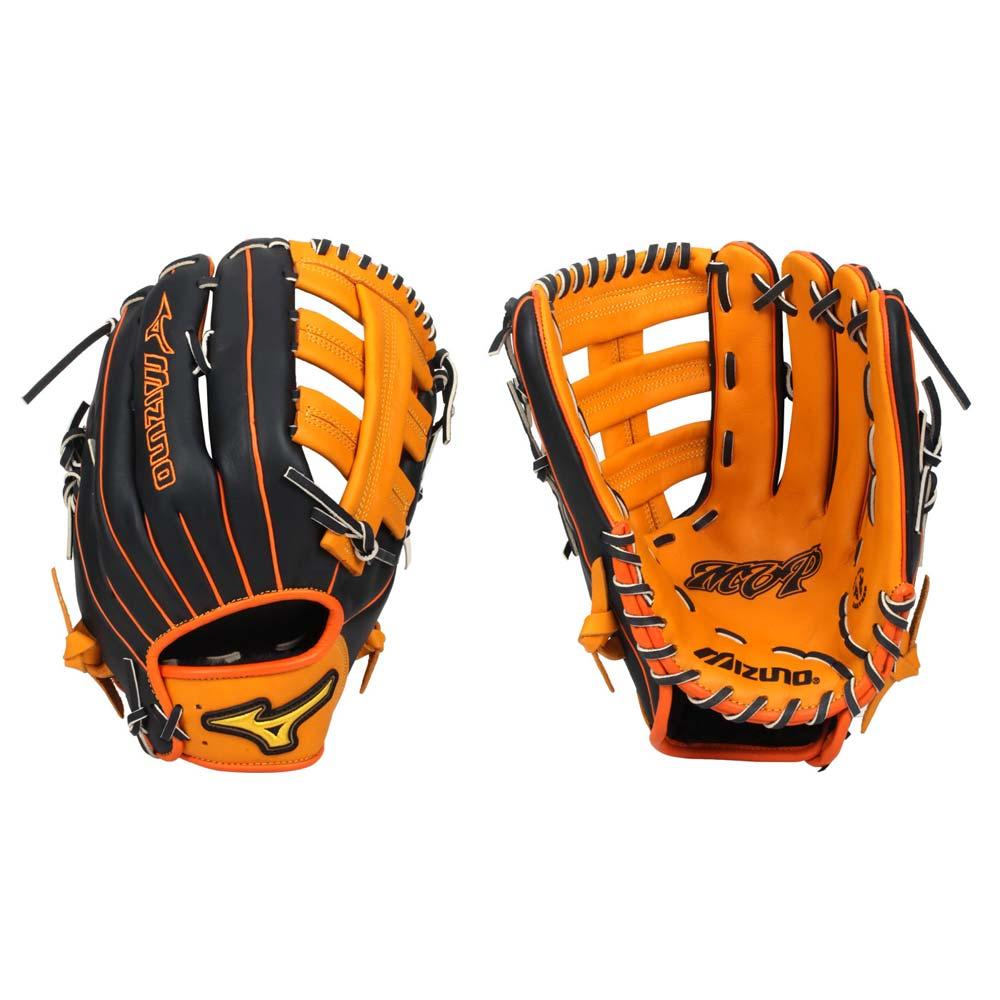 MIZUNO 壘球手套- 外野手 右投 棒球 訓練 美津濃 雙十字檔 黑橘黃@1ATGS20890-5409@