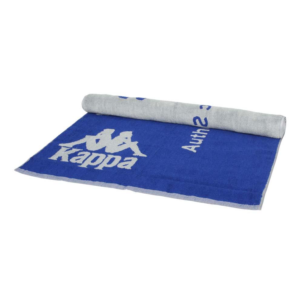 KAPPA 運動毛巾-海邊 游泳 戲水 慢跑 路跑 浴巾 純棉 台灣製 藍灰@32157QW-A0N@