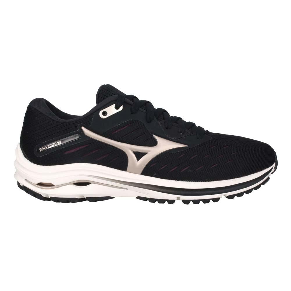 MIZUNO WAVE RIDER 24 女慢跑鞋-路跑 避震 美津濃 黑香檳金@J1GD200342@