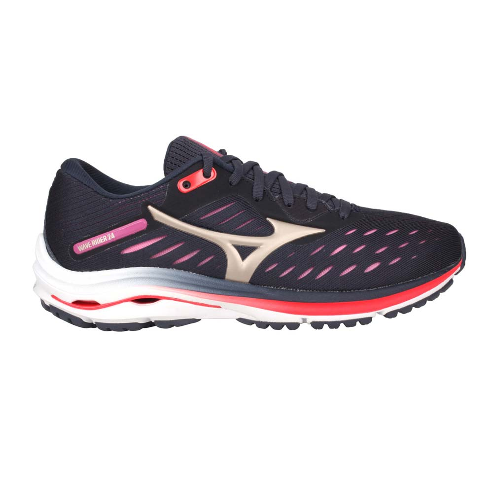 MIZUNO WAVE RIDER 24 女慢跑鞋-路跑 避震 美津濃 灰粉橘@J1GD200343@