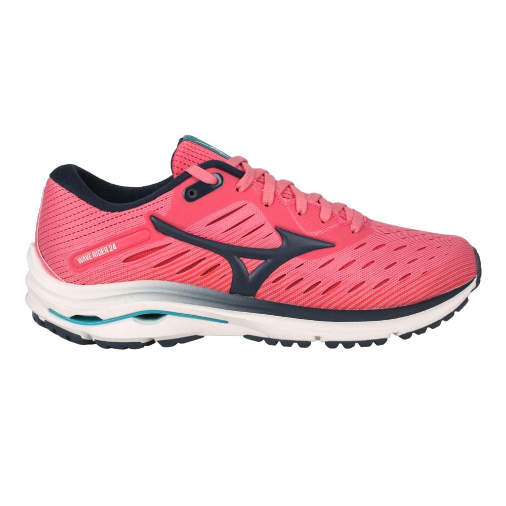 MIZUNO WAVE RIDER 24 女慢跑鞋-路跑 避震 美津濃 粉紅黑@J1GD200330@