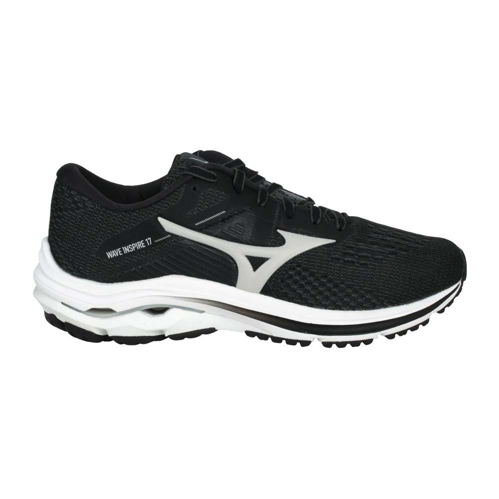 MIZUNO WAVE INSPIRE 17女慢跑鞋-WIDE-寬楦 美津濃 黑淺灰@J1GD214638@