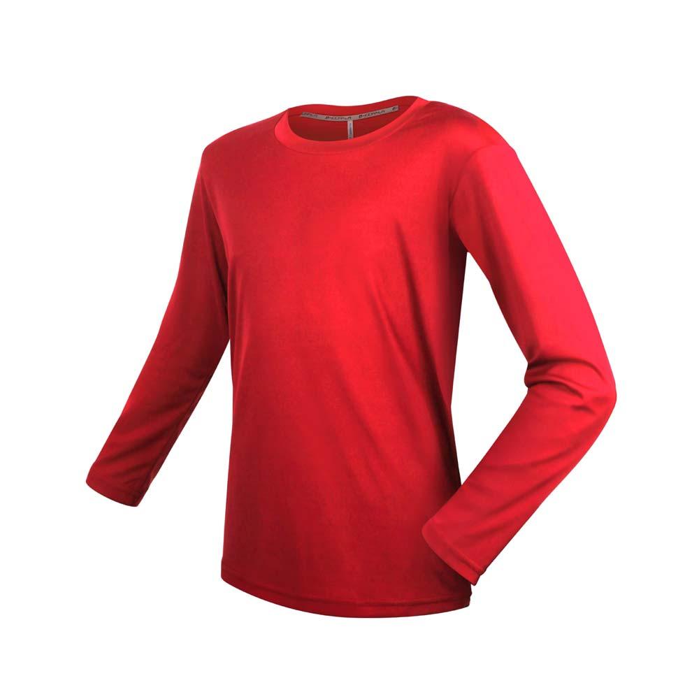 HODARLA 男女童裝長袖激膚無感衣-吸濕排汗 抗UV 長袖T恤 慢跑 台灣製 上衣 紅@3157501@