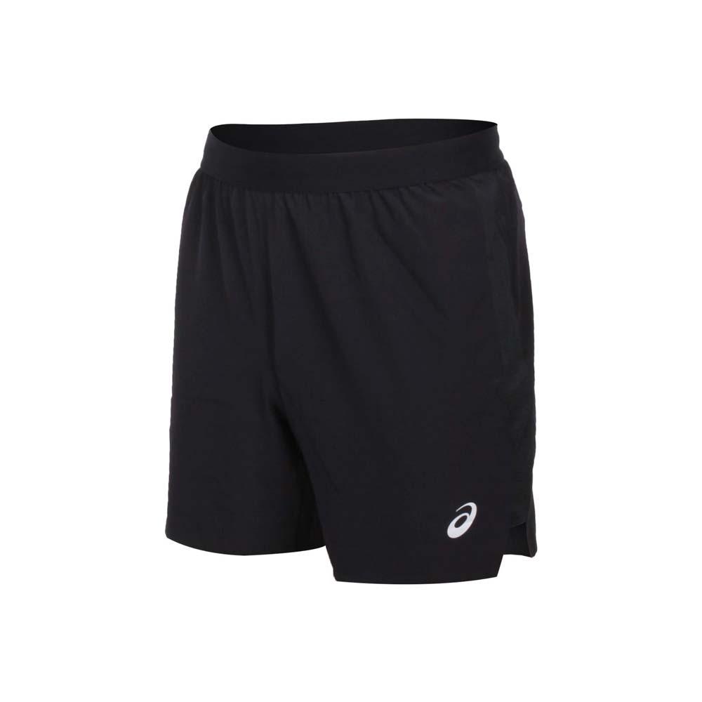 ASICS 男平織短褲-三分褲 亞瑟士 慢跑 路跑 運動 吸濕排汗 黑銀@2011A768-001@