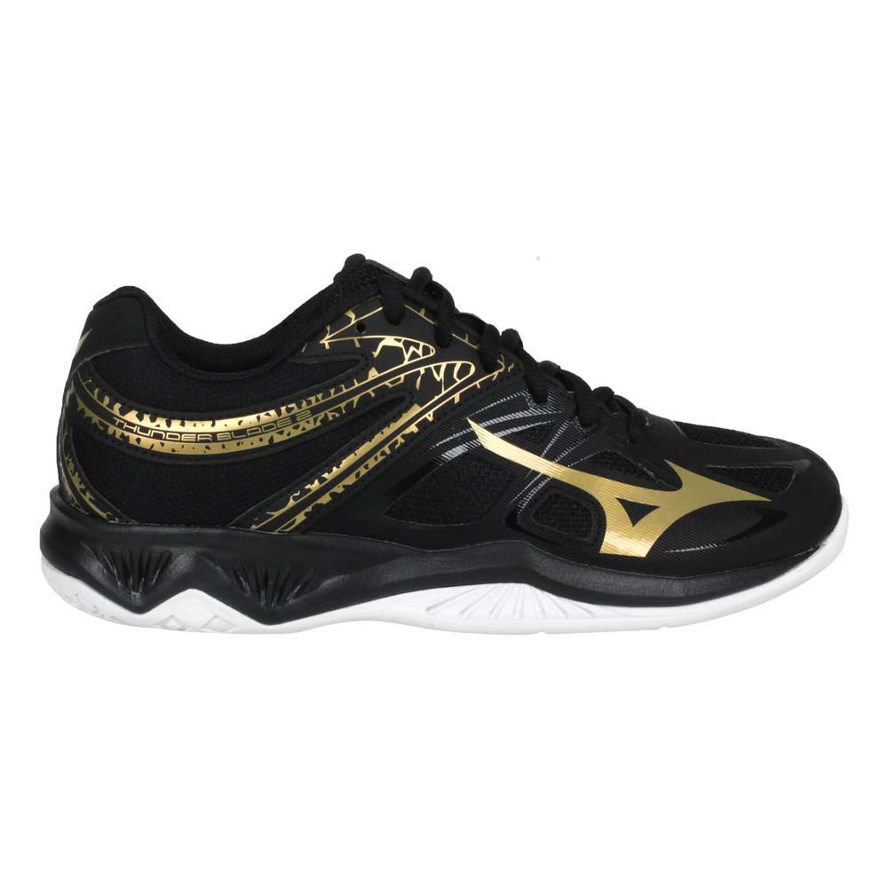 MIZUNO THUNDER BLADE 2 男女排球鞋-2.5E 美津濃 黑金@V1GA197052@