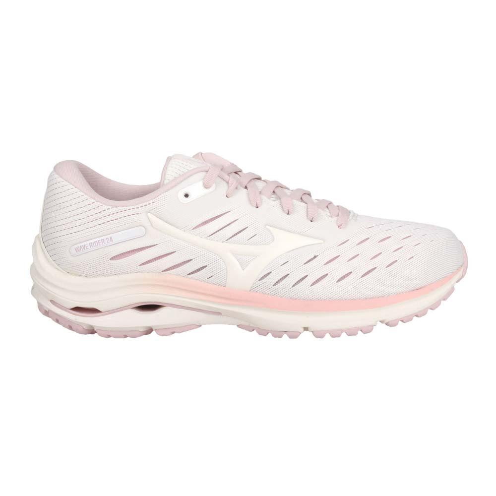 MIZUNO WAVE RIDER 24 女慢跑鞋-WIDE-路跑 美津濃 白藕粉紫橘@J1GD200613@