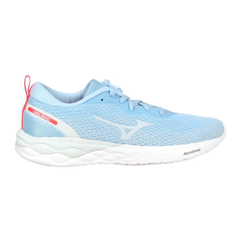 MIZUNO WAVE REVOLT 女慢跑鞋-路跑 運動 訓練 美津濃 粉藍灰亮紅@J1GD208125@