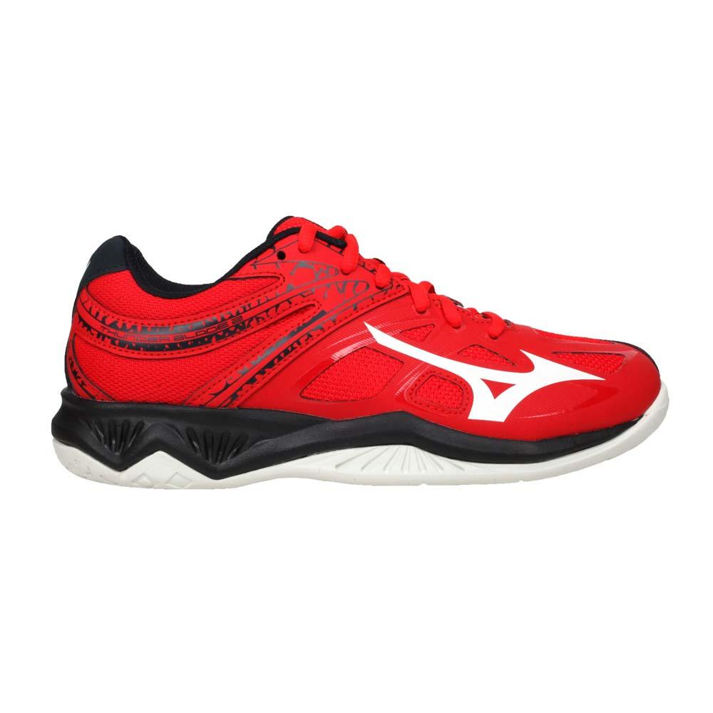 MIZUNO THUNDER BLADE 2 男女排球鞋-2.5E 美津濃 紅黑白@V1GA197063@